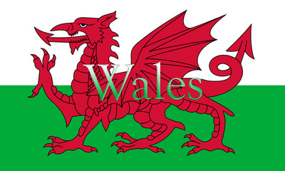 Wales National Flag With Country Name On It 3D illustration
