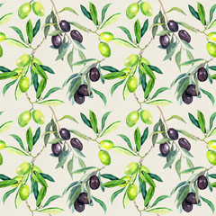 Olives branches of olive tree. Seamless pattern. Watercolor