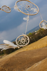 dream catcher hanging  in a dry field at sunset.