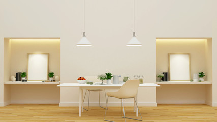 pantry and dining room - 3D Rendering