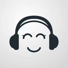 Icono plano auriculares con sonrisa kawaii en fondo degradado