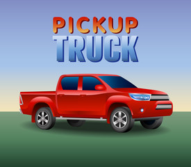 Off-road pickup truck car . Image of a red pickup truck in a realistic style. Vector illustration