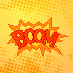 Boom comics sound effect with halftone pattern on yellow