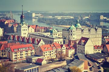 Obraz Vintage stylized aerial view of Szczecin (Stettin) city downtown, Poland. - fototapety do salonu