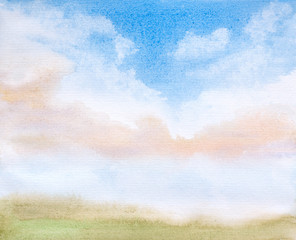 abstract clouds landscape watercolor illustration