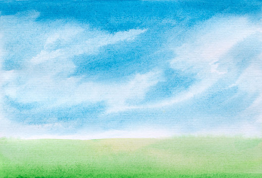 watercolor sky with clouds and green grass abstract landscape