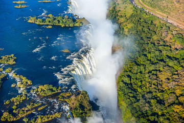 Bird eye view of the Victoria falls waterfall on Zambezi river