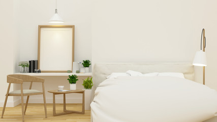 Bedroom for home or hotel and apartment- 3D Rendering