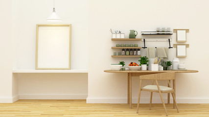 kitchen set in pantry area and frame for artwork - 3d rendering