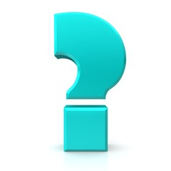 question mark sign icon 3d isolated cut off symbol cyan aqua turquoise