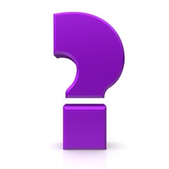 question mark symbol 3d isolated rendering purple violet lila