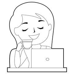 Coloring Book Outlined Smiling Girl drinking coffee cup in front of her laptop