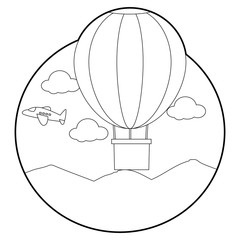 Coloring Book Outlined Hot Air Balloon with Flying Plane