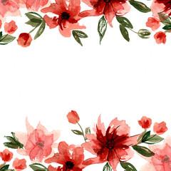 Cute watercolor hand painted flower frame. Invitation. Wedding card. Birthday card