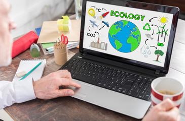 Ecology concept on a laptop screen