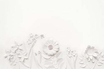 white paper flowers wallpaper, spring summer background, floral design elements