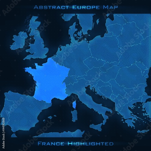 Map Of Europe With France Highlighted.Europe Abstract Map France Highlighted Vector Background