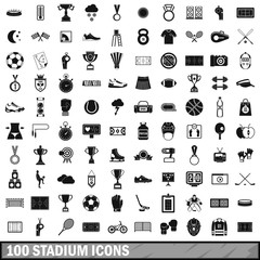 100 stadium icons set, simple style