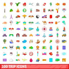 100 trip icons set, cartoon style
