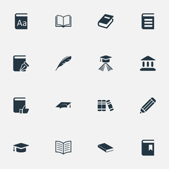 Vector Illustration Set Of Simple Books Icons. Elements Encyclopedia, Bookshelf, Plume And Other Synonyms Pencil, Plume And Quill.