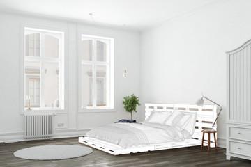 Schlafzimmer mit Umriss von Palettenbett