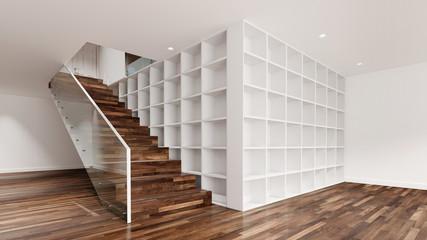 Stauraum Idee neben Treppe in Wohnung Fototapete