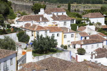 Top view of the ancient fortified village of Obidos and typical terracotta roofs Oeste Leiria District Portugal Europe