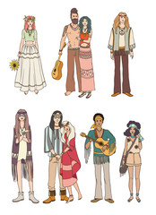 Set of various hippie people in different clothes on white background. Colorful vector illustration.