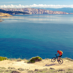 Mountain biking at the seaside bike trail