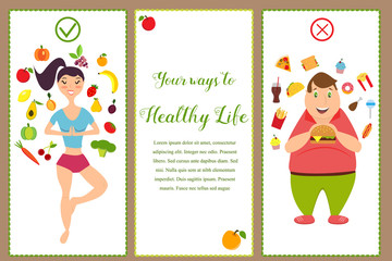 Banners with healthy food and fast food