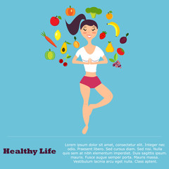 Healthy eating  concept with flat images fruits, vegetables and  girl doing yoga
