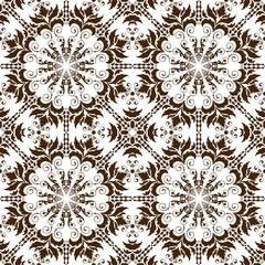 Vector floral seamless pattern background in Arabian style. Arabesque pattern. Eastern ethnic ornament. Elegant texture for backgrounds.