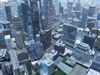 Aerial view of modern city, city from bird's eye view, view from top to city, 3d rendering