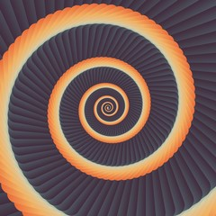 Into Infinity geometry. Abstract geometrical concentric swirl background. Sea shell like structures. Fractal swirl background. Concentric wrapping geometry.