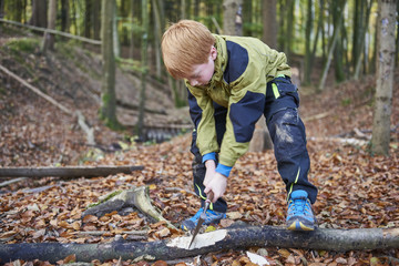 Boy chopping wood in forest