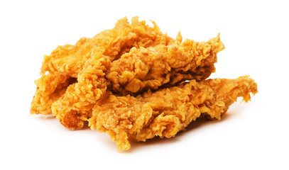 Pieces of crispy breaded fried chicken
