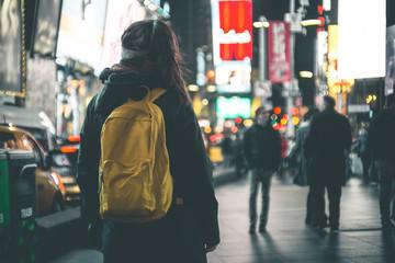 Girl enjoying Times Square View - New York
