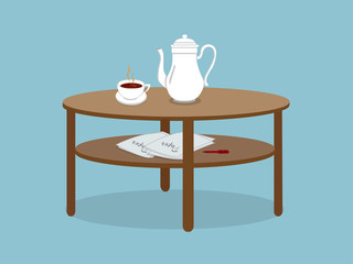 Coffee with teacup with paper with pen on table