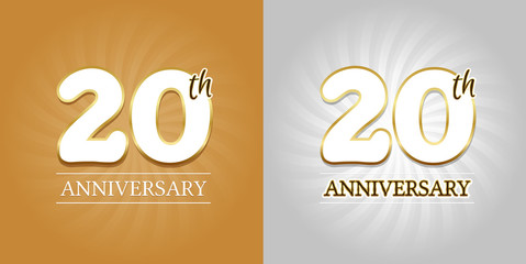 20th Anniversary Background - 20 years Celebration gold and Silver. Eps10 Vector.