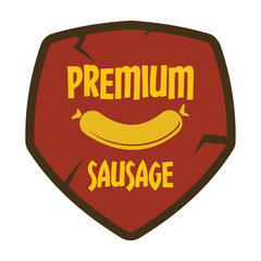 Flat retro vintage sausage grill label isolated