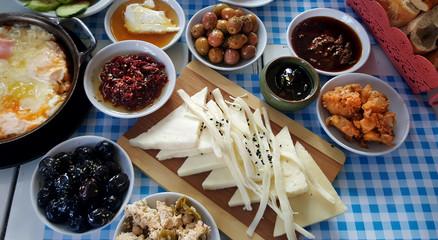 Breakfast - traditional Turkish breakfast table