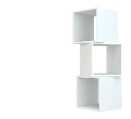 White box shelves. 3d rendering on white background.