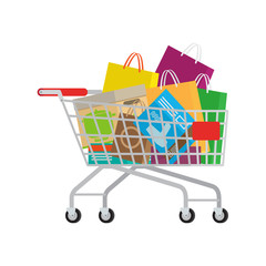 Full Shopping Trolley with Different Purchases