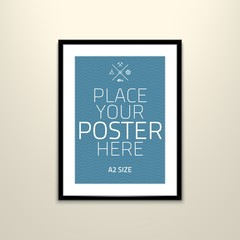 Vector poster template of a blank paper sheet in frame, placed in interior.