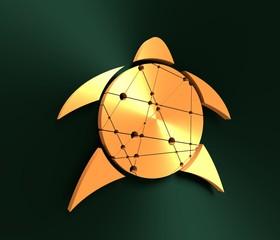 Silhouette stylized sea turtle on green background. Turtle symbol. 3D rendering. Metallic material