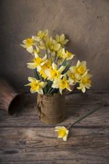 Amazing grunge background with Yellow flowers