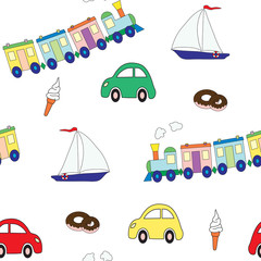 Seamless pattern with a set of toys for the boy and sweet. A vector picture. Design elements for a children's print.