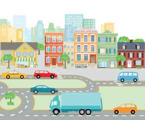 Straßenverkehr in der Stadt, transport Illustration