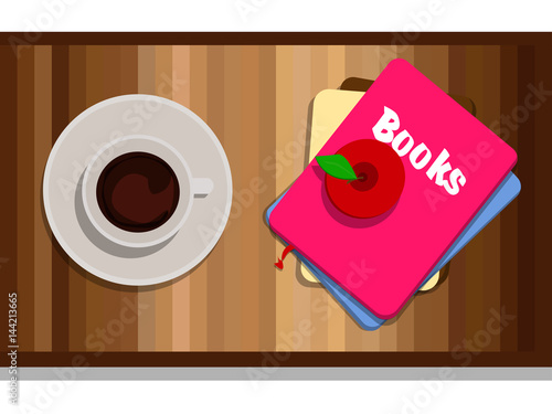Books with red apple with coffee on wood table stock for Apple coffee table book