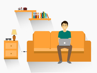 Man lying down on sofa with laptop with display. illustration flat